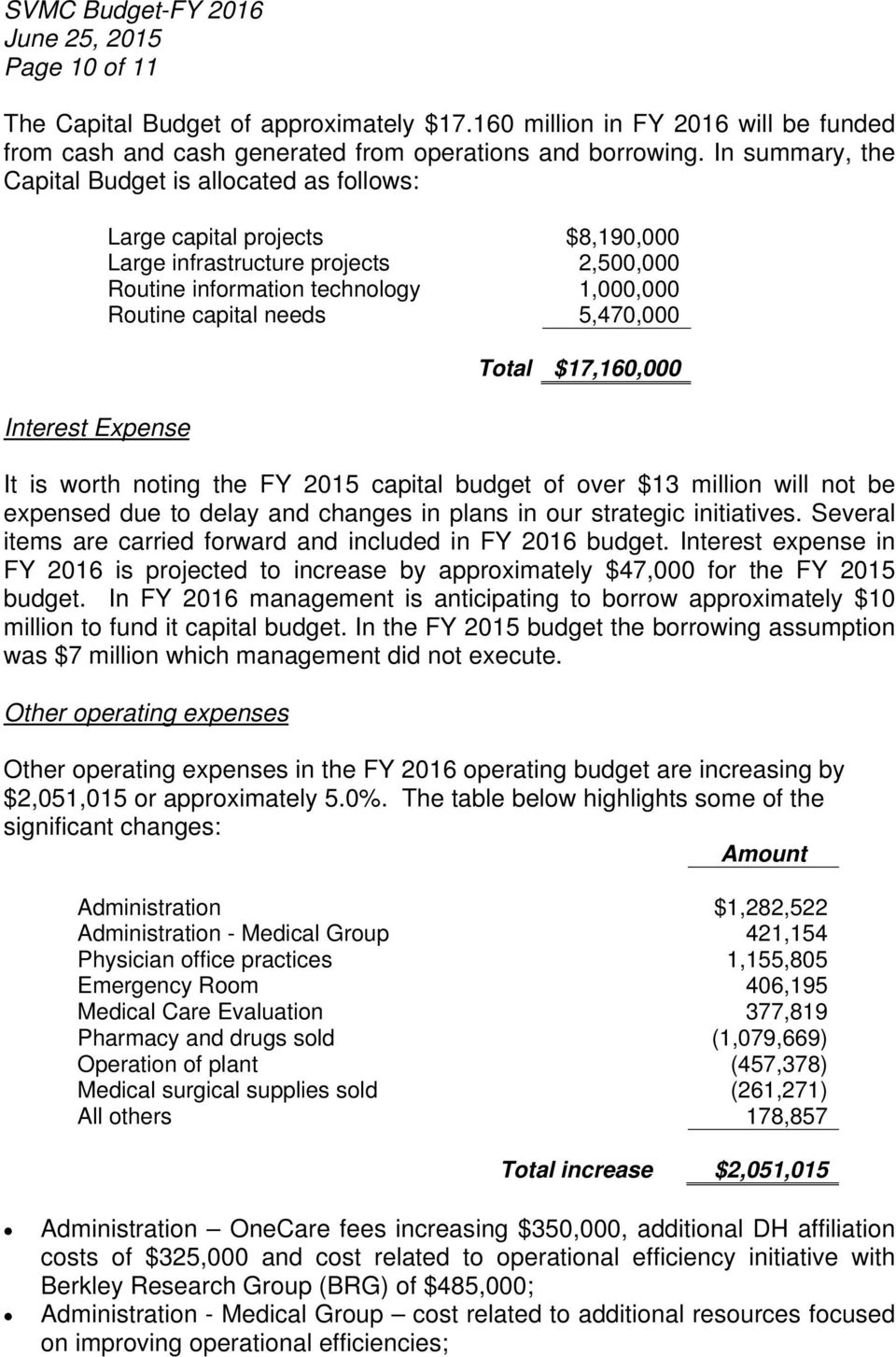 capital needs 5,470,000 Total $17,160,000 It is worth noting the FY 2015 capital budget of over $13 million will not be expensed due to delay and changes in plans in our strategic initiatives.
