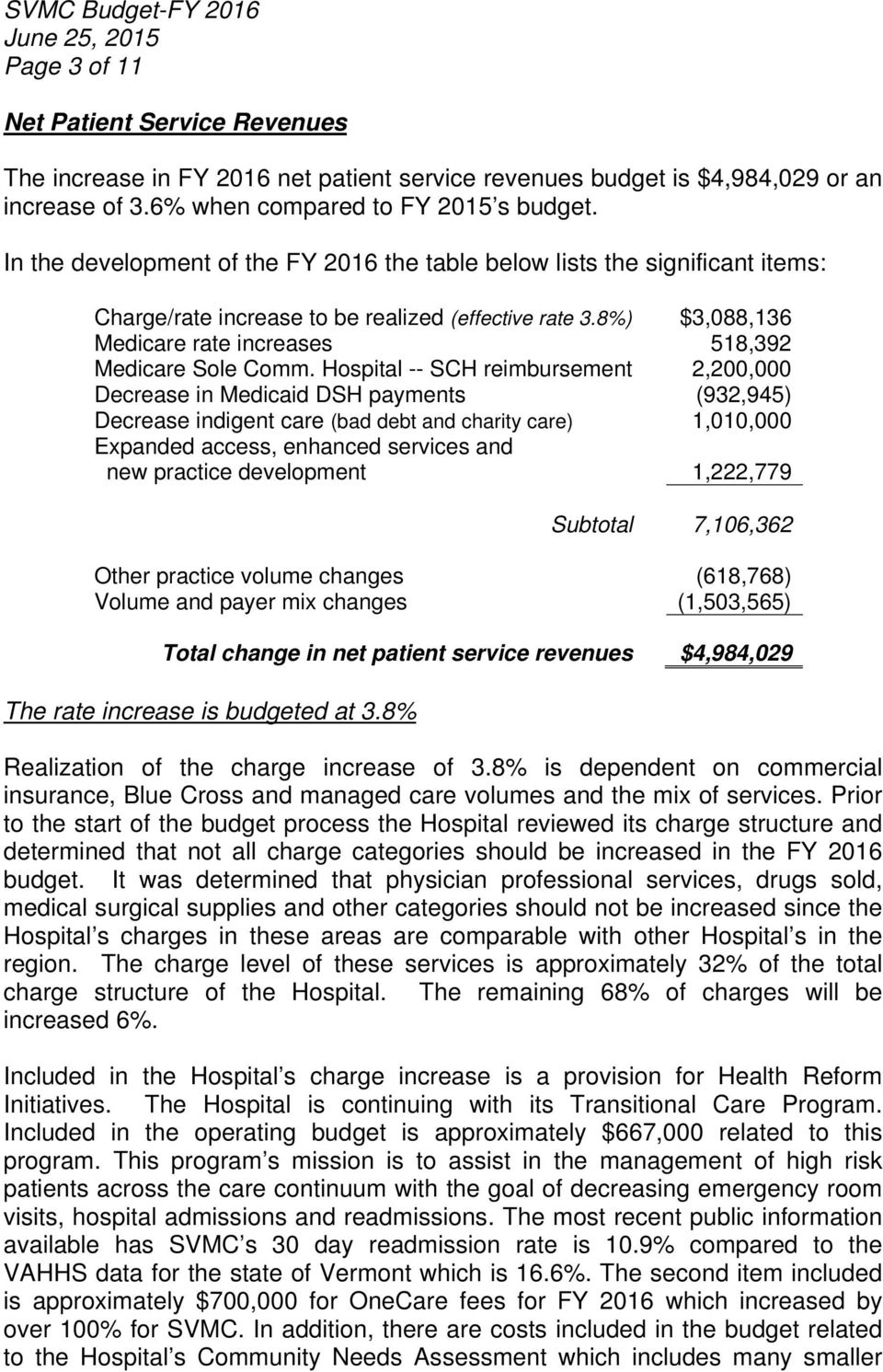 Hospital -- SCH reimbursement 2,200,000 Decrease in Medicaid DSH payments (932,945) Decrease indigent care (bad debt and charity care) 1,010,000 Expanded access, enhanced services and new practice