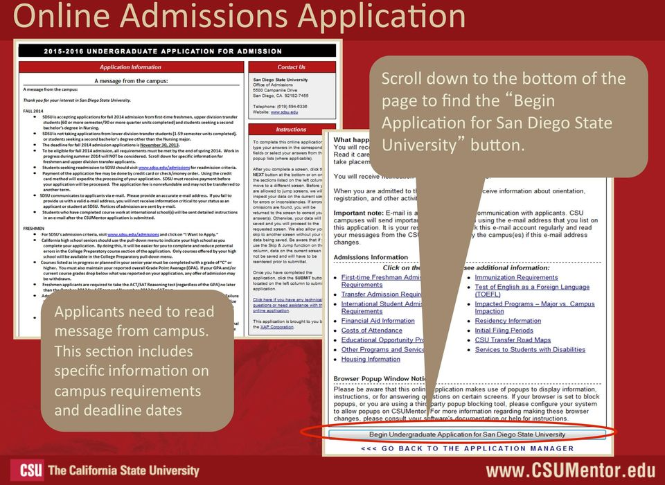 bufon. Applicants need to read message from campus.
