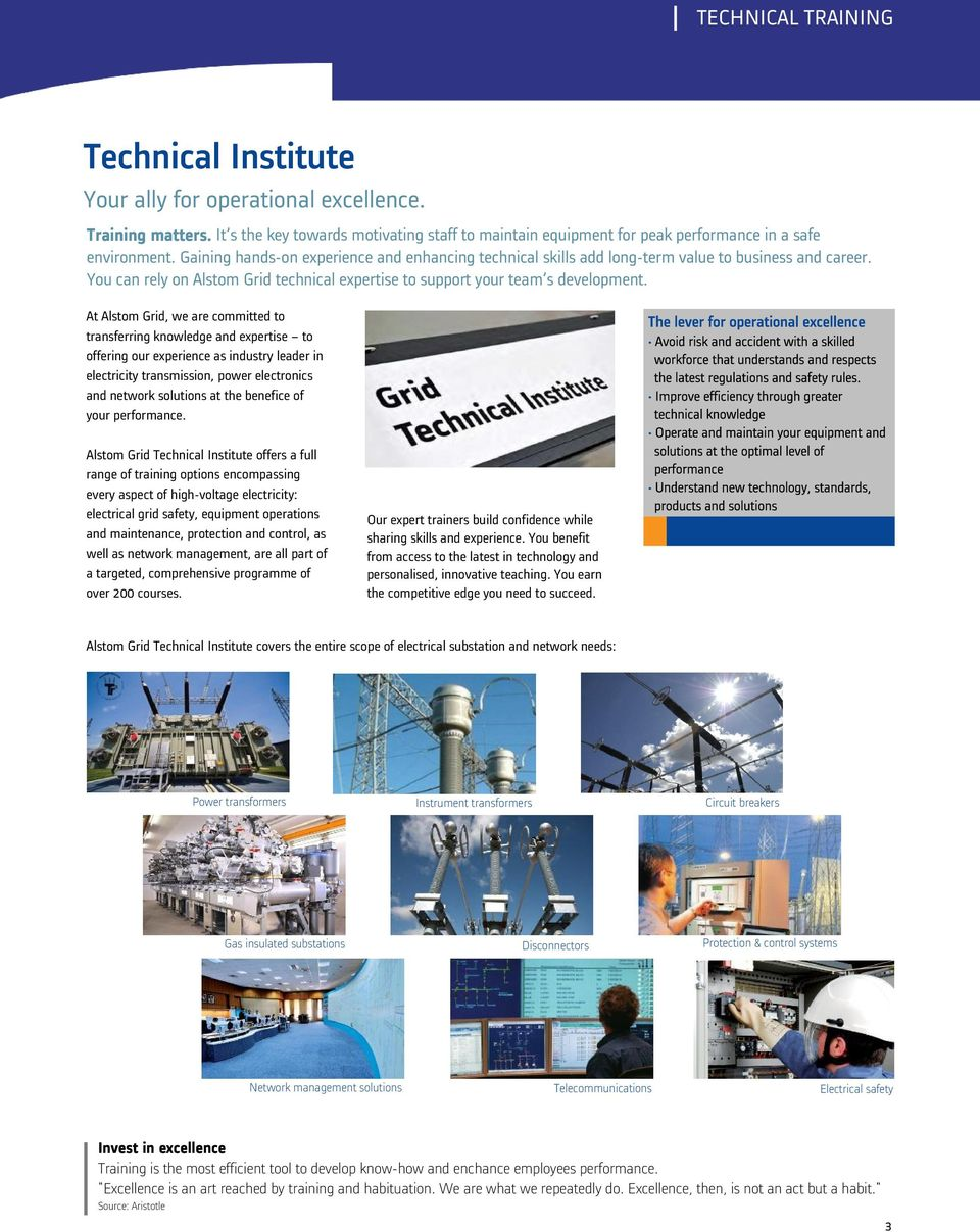 Technical training  at Alstom Grid Technical Institute  GRID