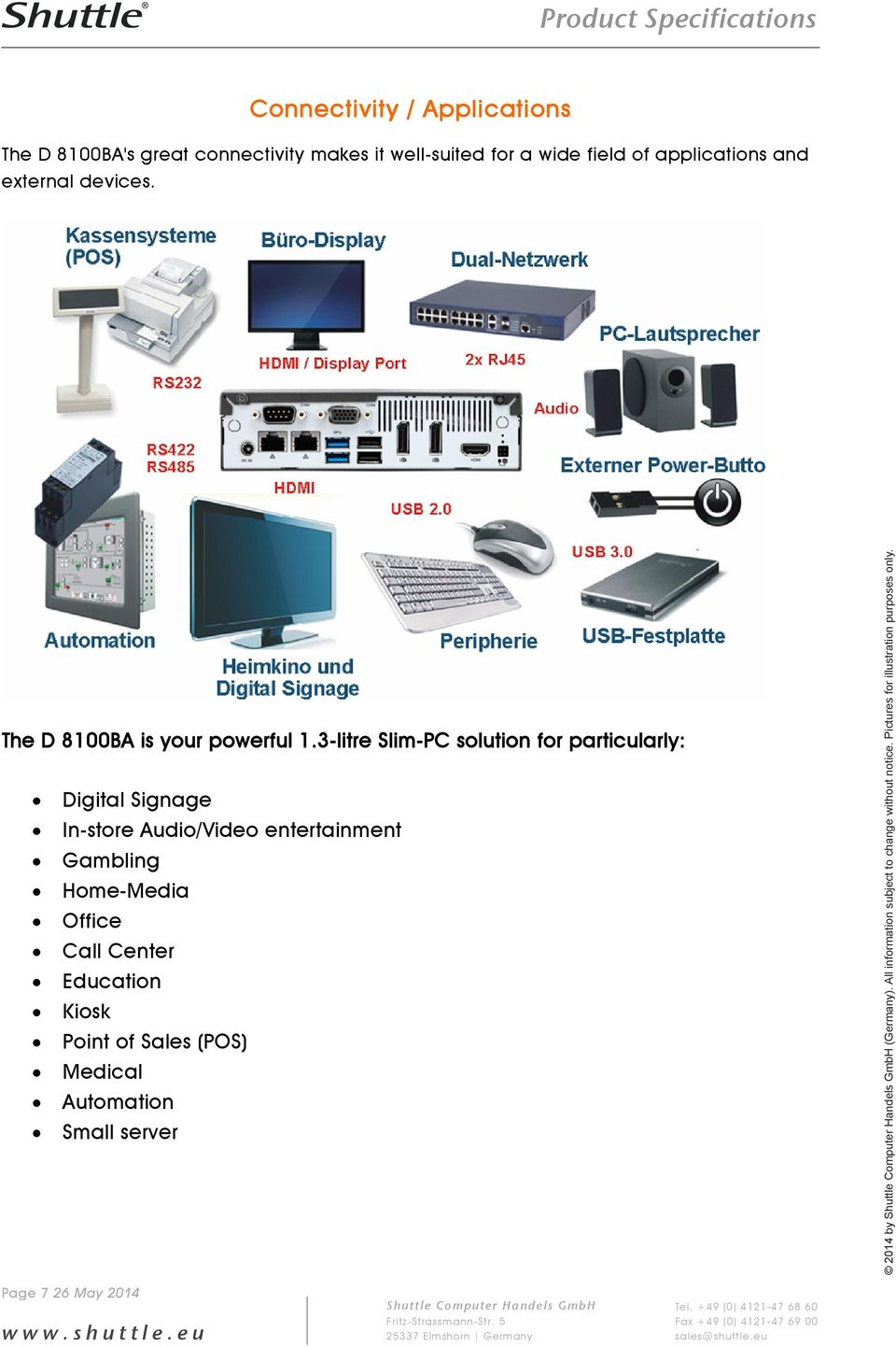 3-litre Slim-PC solution for particularly: Digital Signage In-store Audio/Video entertainment Gambling Home-Media Office