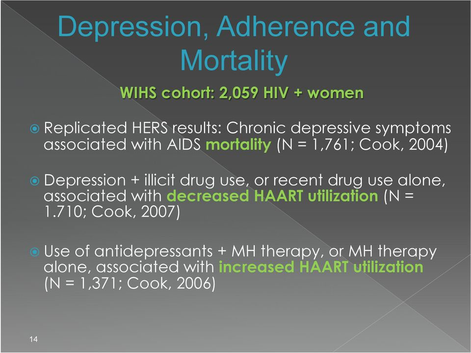 or recent drug use alone, associated with decreased HAART utilization (N = 1.
