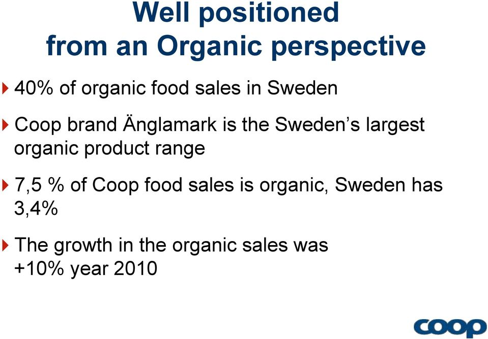 largest organic product range 7,5 % of Coop food sales is