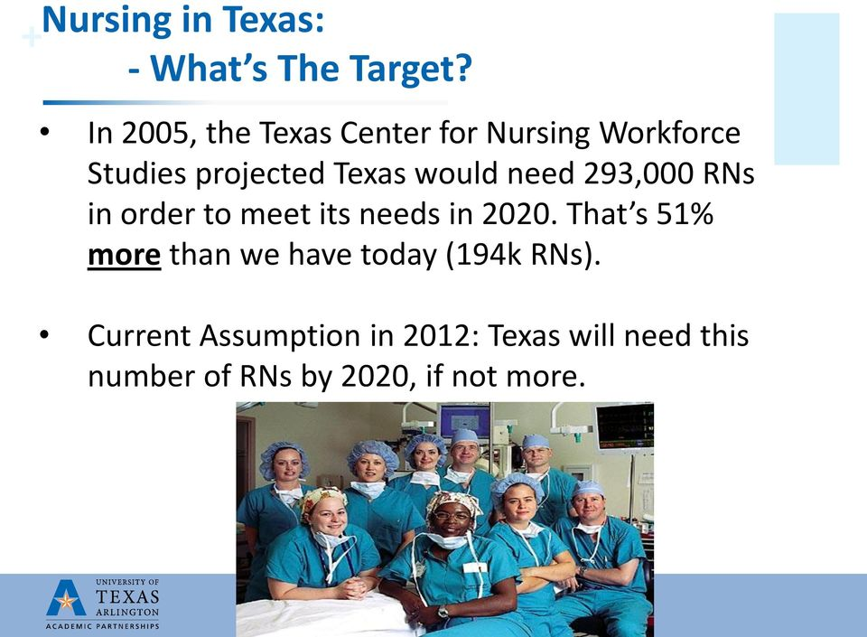 would need 293,000 RNs in order to meet its needs in 2020.
