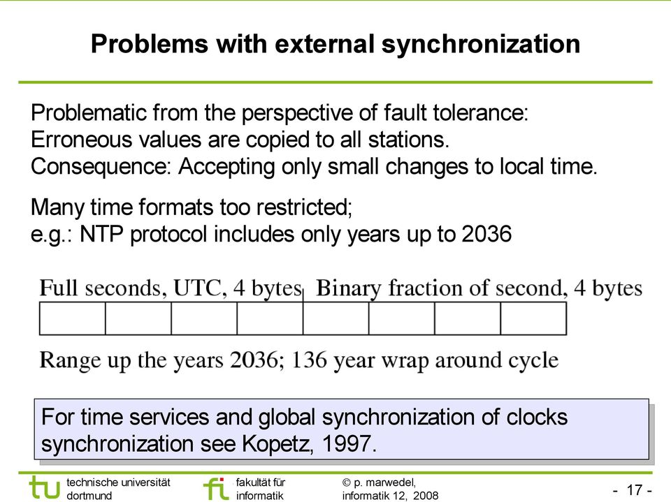 Consequence: Accepting only small changes to local time. Many time formats too restricted; e.