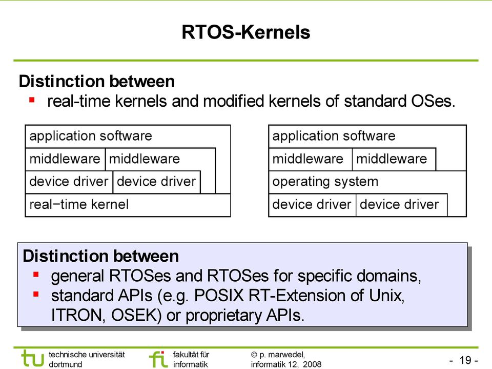 Distinction between general RTOSes and RTOSes for specific