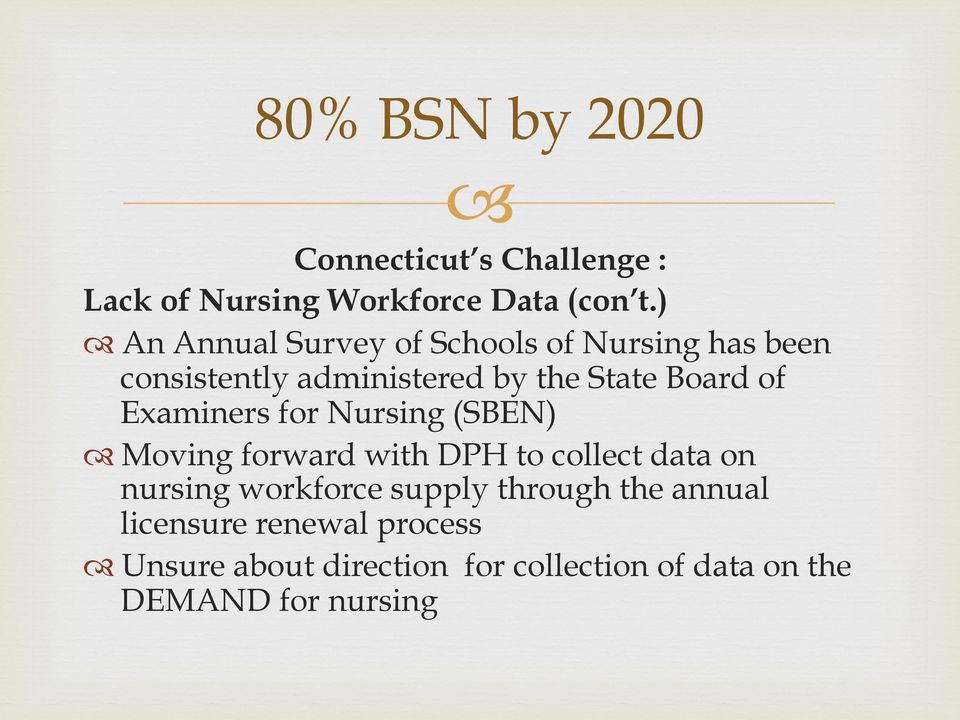 Examiners for Nursing (SBEN) Moving forward with DPH to collect data on nursing workforce supply