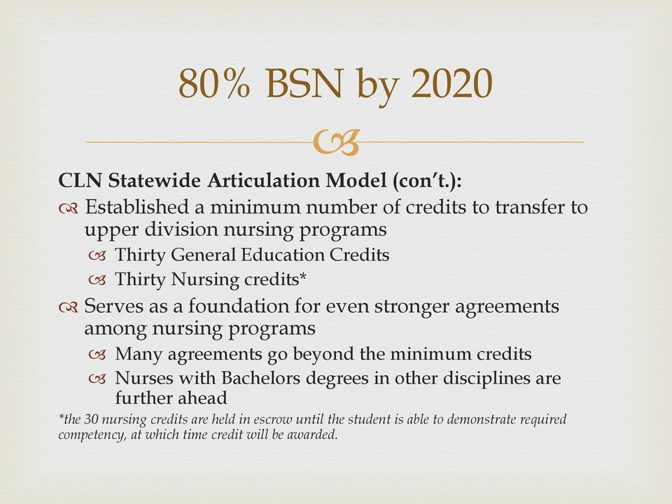 Nursing credits* Serves as a foundation for even stronger agreements among nursing programs Many agreements go beyond the minimum