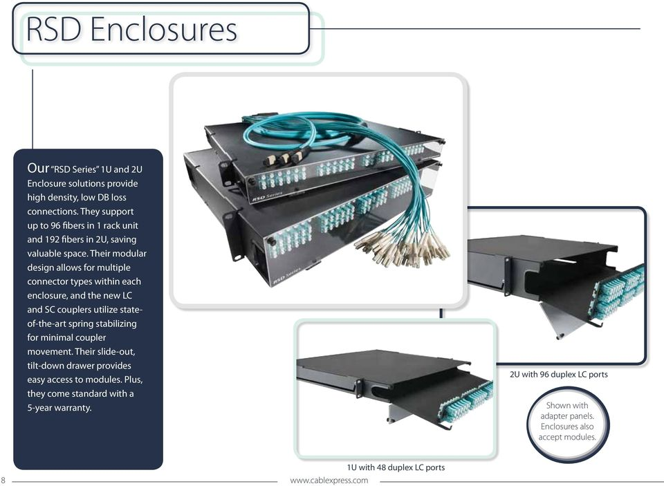 Their modular design allows for multiple connector types within each enclosure, and the new LC and SC couplers utilize stateof-the-art spring stabilizing for