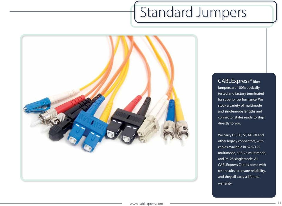 We carry LC, SC, ST, MT-RJ and other legacy connectors, with cables available in 62.