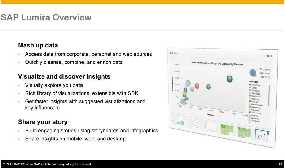 faster insights with suggested visualizations and key influencers Share your story Build engaging stories using