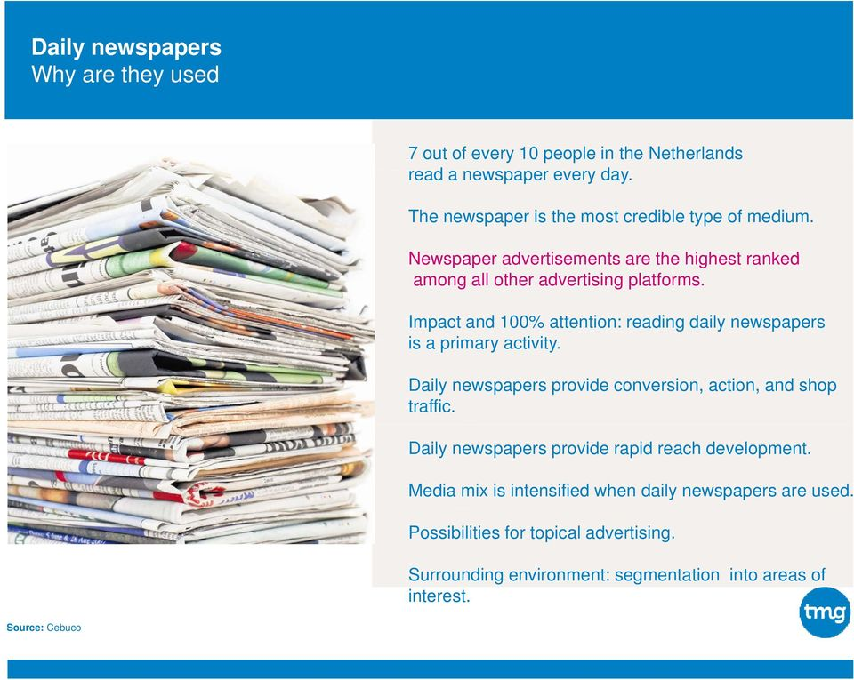 Impact and 100% attention: reading daily newspapers is a primary activity. Daily newspapers provide conversion, action, and shop traffic.