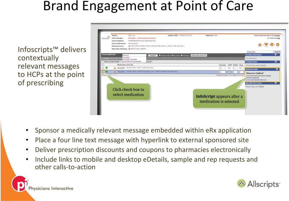 message with hyperlink to external sponsored site Deliver prescription discounts and coupons to pharmacies
