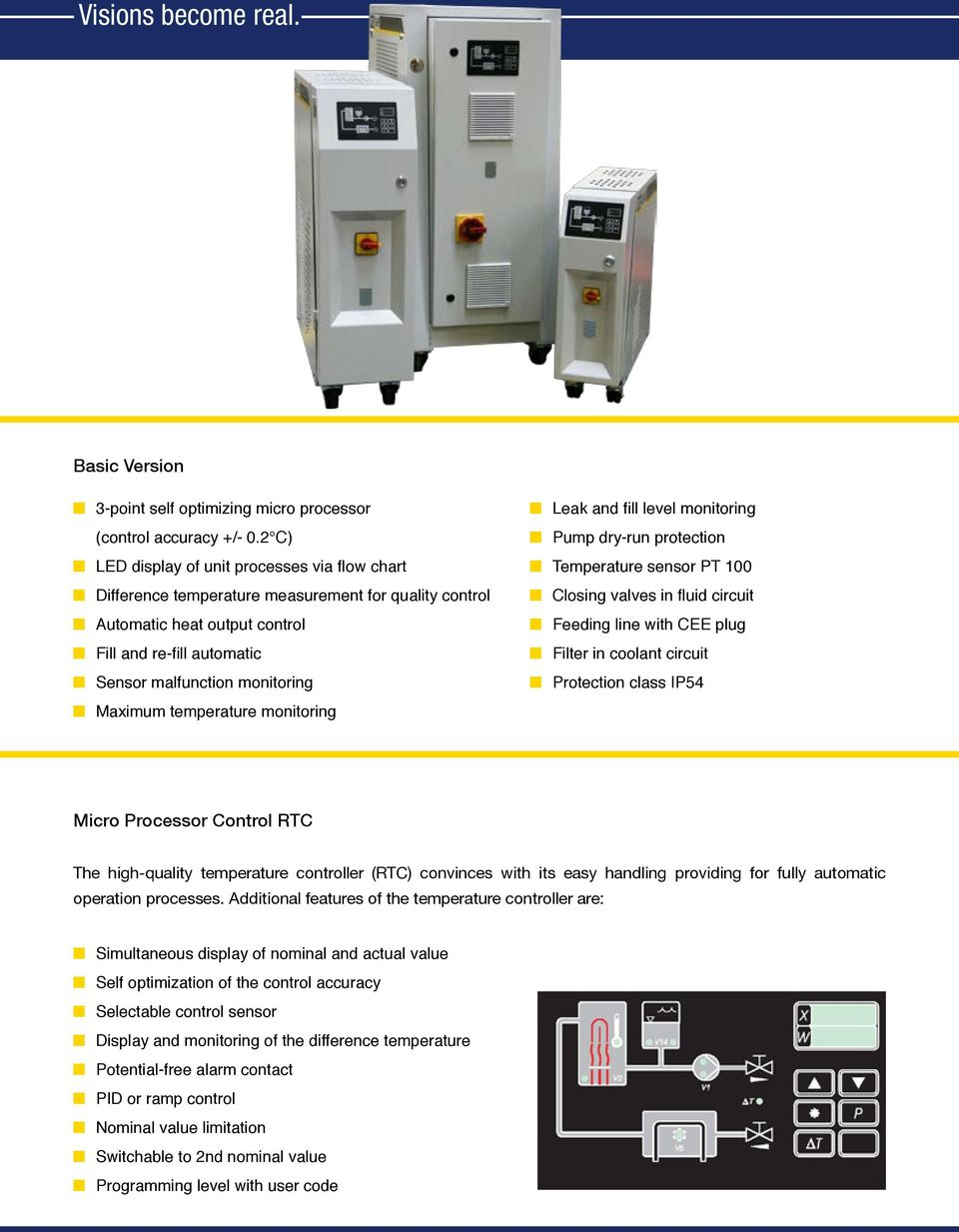 Automatic heat output control n Feeding line with CEE plug n Fill and re-fill automatic n Filter in coolant circuit n Sensor malfunction monitoring n Protection class IP54 n Maximum temperature