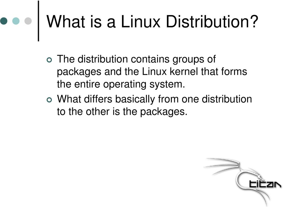 Linux kernel that forms the entire operating system.