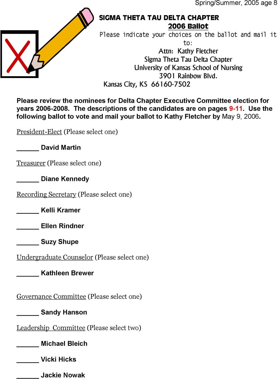 Use the following ballot to vote and mail your ballot to Kathy Fletcher by May 9, 2006.