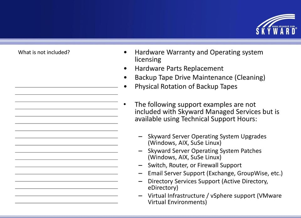 following support examples are not included with Skyward Managed Services but is available using Technical Support Hours: Skyward Server Operating System