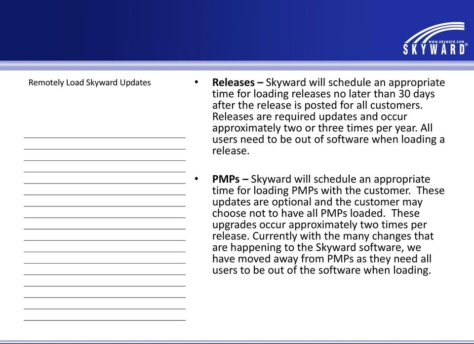 PMPs Skyward will schedule an appropriate time for loading PMPs with the customer. These updates are optional and the customer may choose not to have all PMPs loaded.