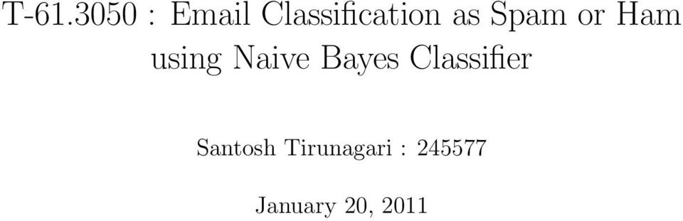 using Naive Bayes Classifier
