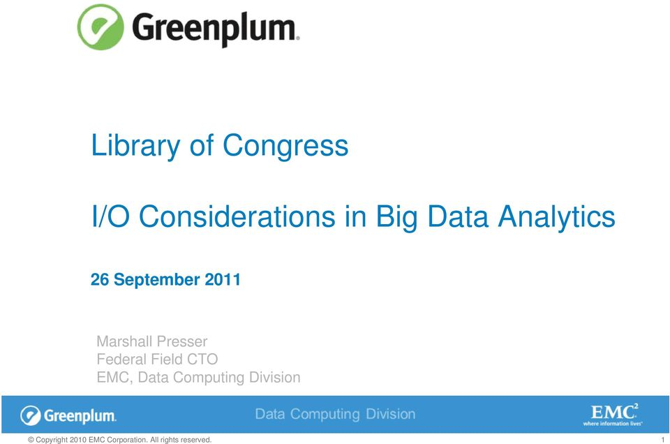 Analytics 26 September 2011
