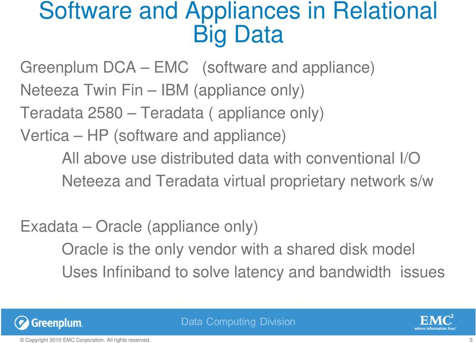 distributed data with conventional I/O Neteeza and Teradata virtual proprietary network s/w Exadata Oracle