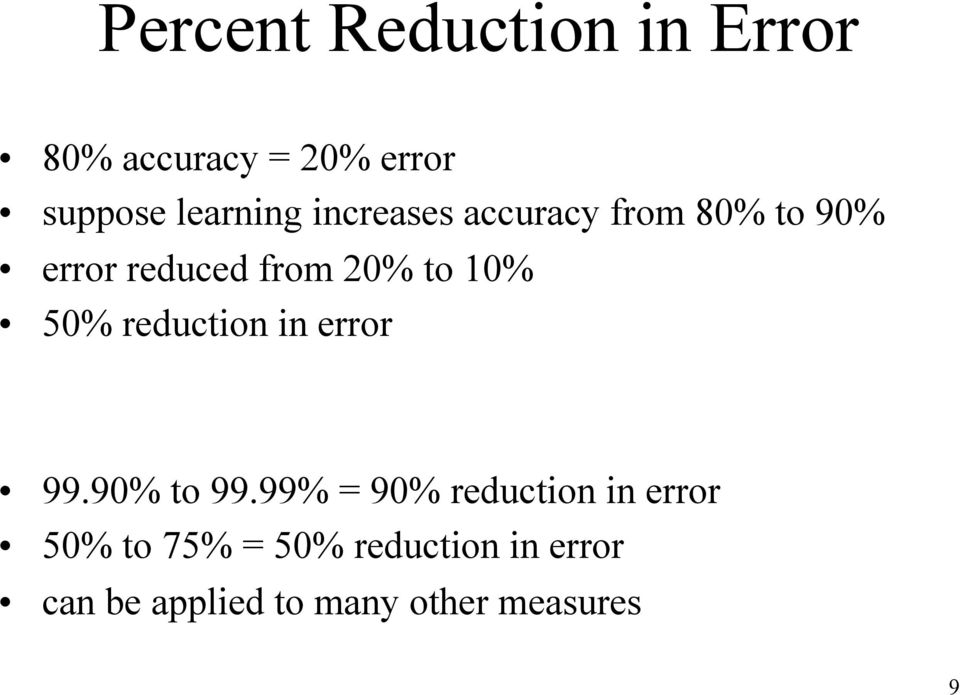 reduction in error 99.90% to 99.