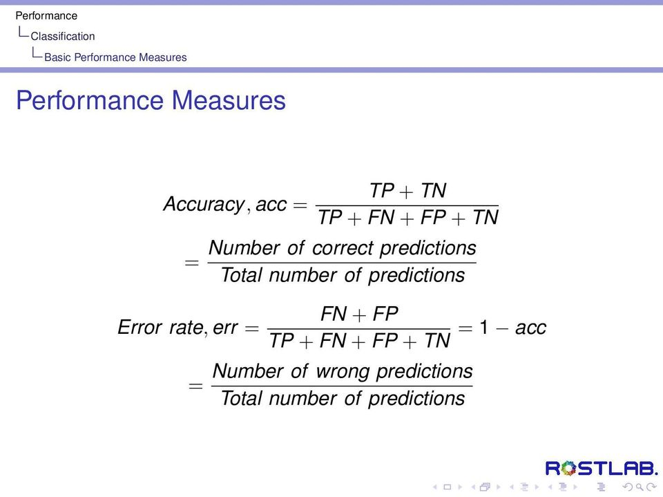 correct predictions Total number of predictions FN + FP TP + FN