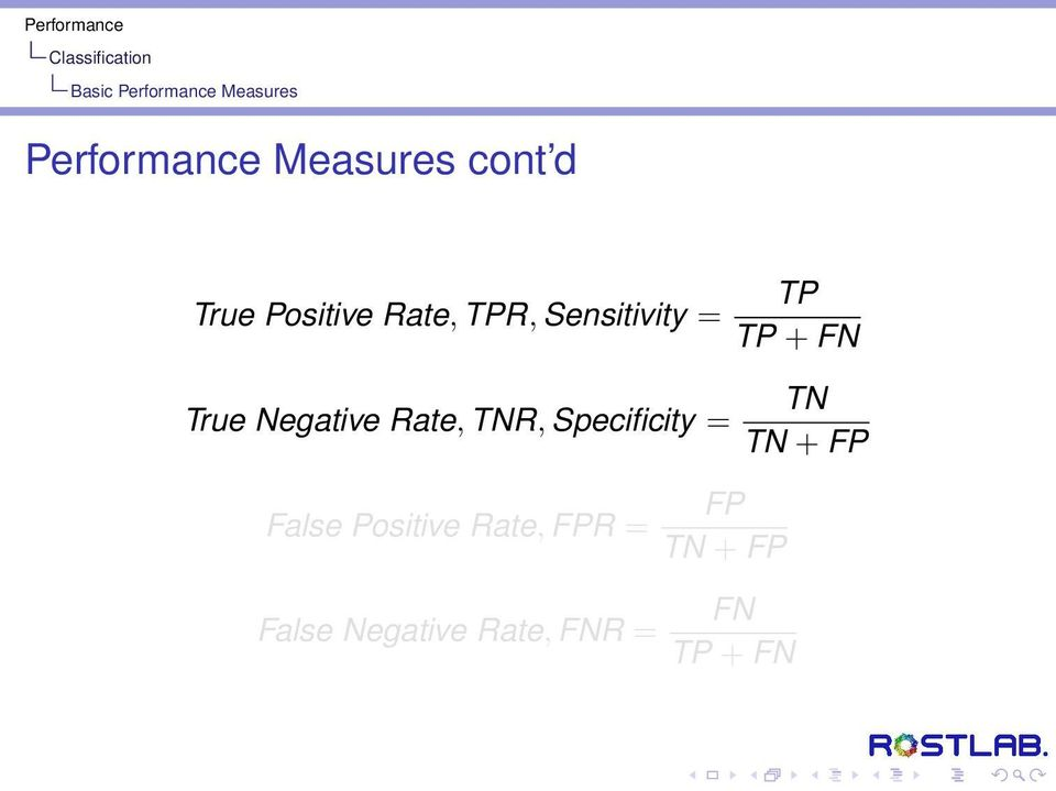 Rate, TNR, Specificity = False Positive Rate, FPR = False