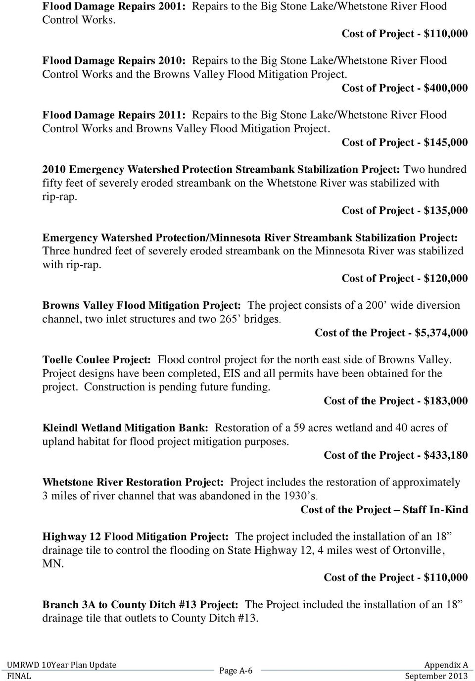 Cost of Project - $400,000 Flood Damage Repairs 2011: Repairs to the Big Stone Lake/Whetstone River Flood Control Works and Browns Valley Flood Mitigation Project.