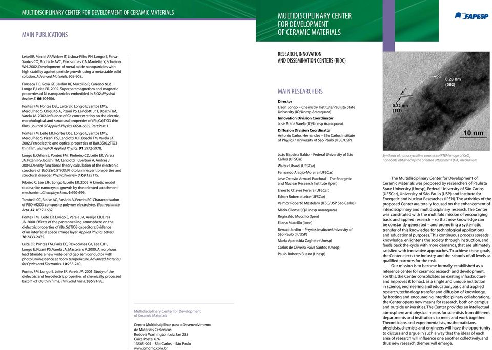Advanced Materials. 905-908. Research, Innovation and Dissemination Centers (RIDC) Fonseca FC, Goya GF, Jardim RF, Muccillo R, Carreno NLV, Longo E, Leite ER. 2002.