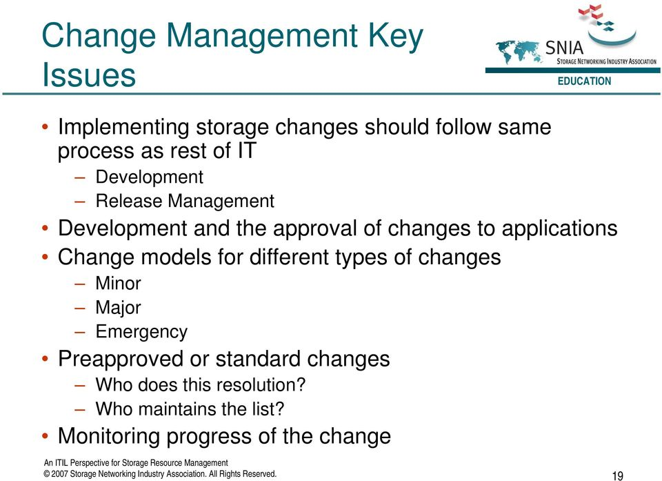 different types of changes Minor Major Emergency Preapproved or standard changes Who does this resolution?