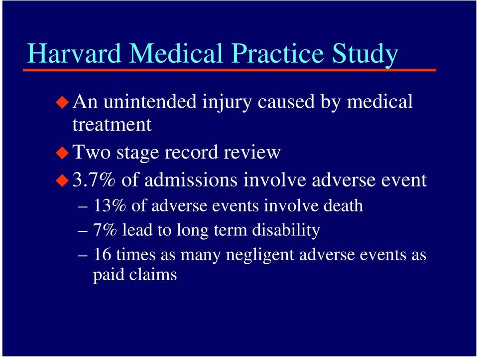 7% of admissions involve adverse event 13% of adverse events