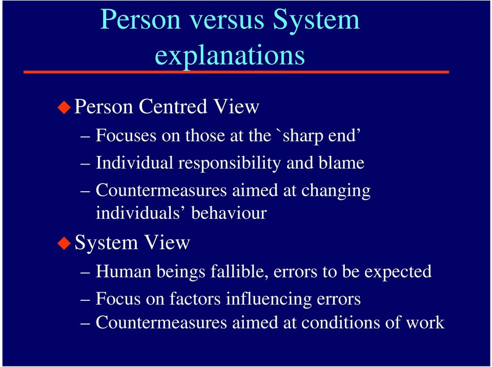 changing individuals behaviour System View Human beings fallible, errors to be