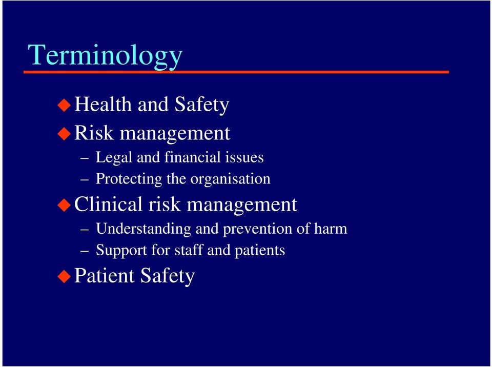 Clinical risk management Understanding and