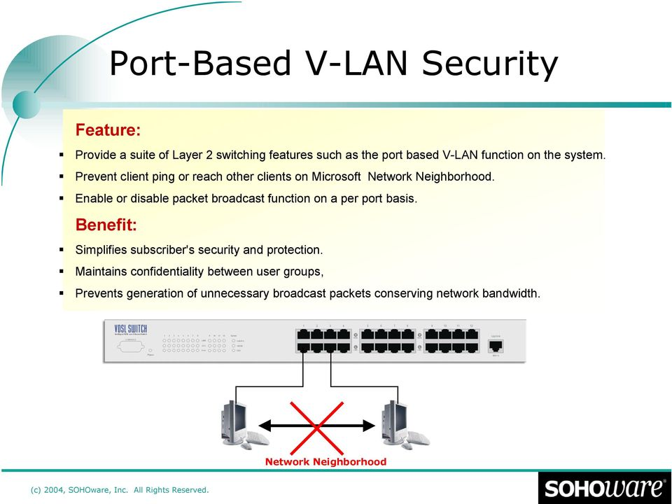 Enable or disable packet broadcast function on a per port basis. Benefit: Simplifies subscriber's security and protection.