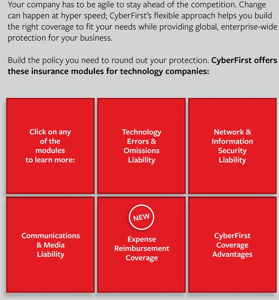 global, enterprise-wide protection for your business. Build the policy you need to round out your protection.