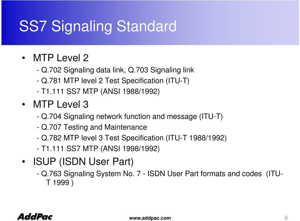 704 Signaling network function and message (ITU-T) - Q.707 Testing and Maintenance - Q.