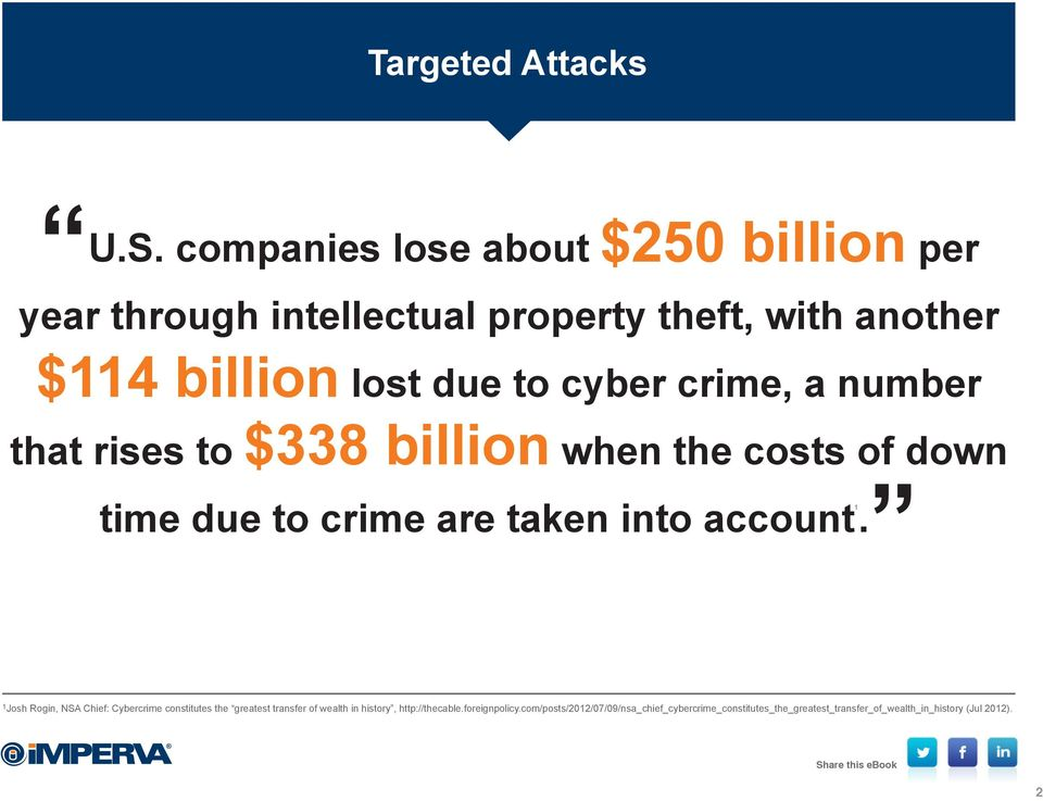 cyber crime, a number that rises to $338 billion when the costs of down 1 time due to crime are taken into account.