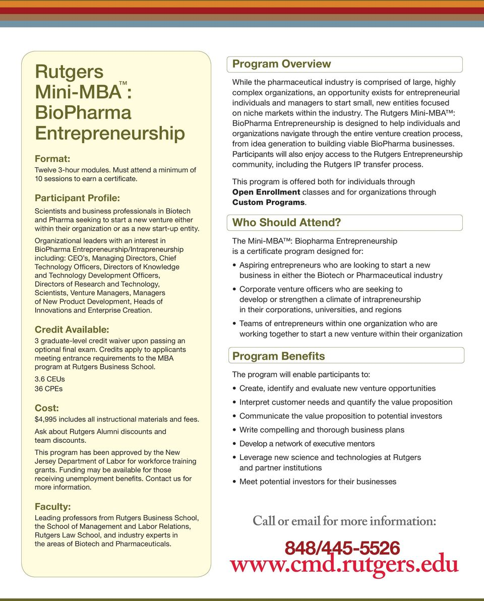 Organizational leaders with an interest in Entrepreneurship/Intrapreneurship including: CEO s, Managing Directors, Chief Technology Officers, Directors of Knowledge and Technology Development