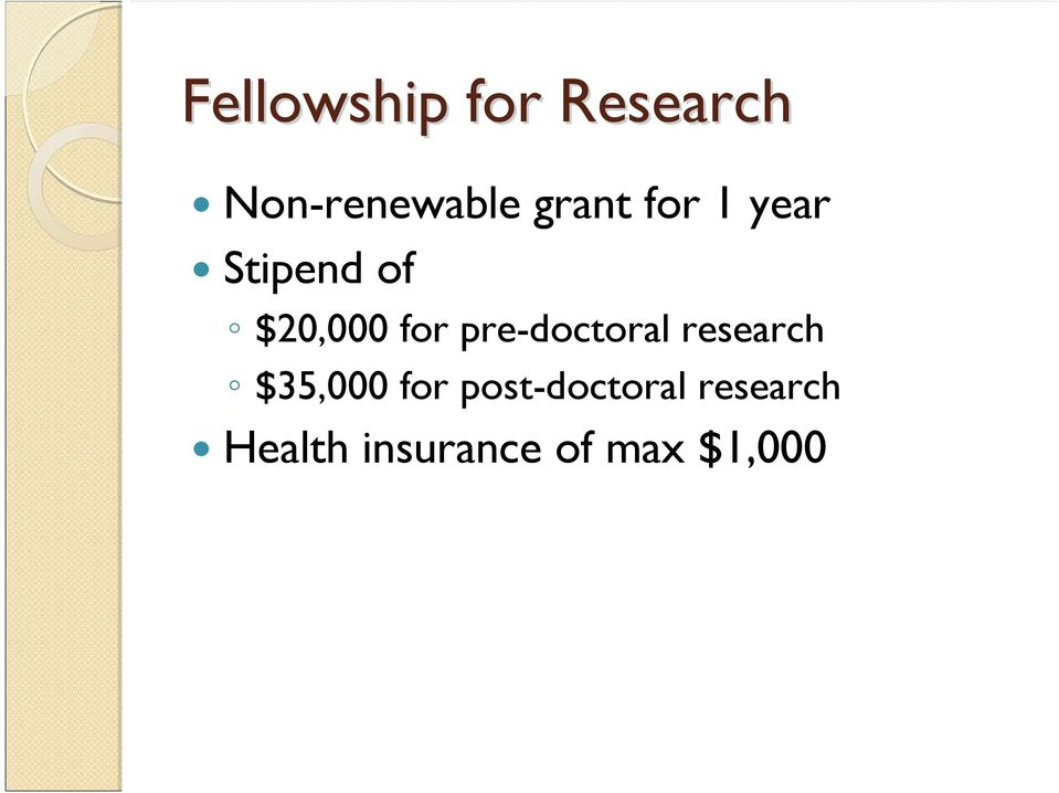 pre-doctoral research $35,000 for