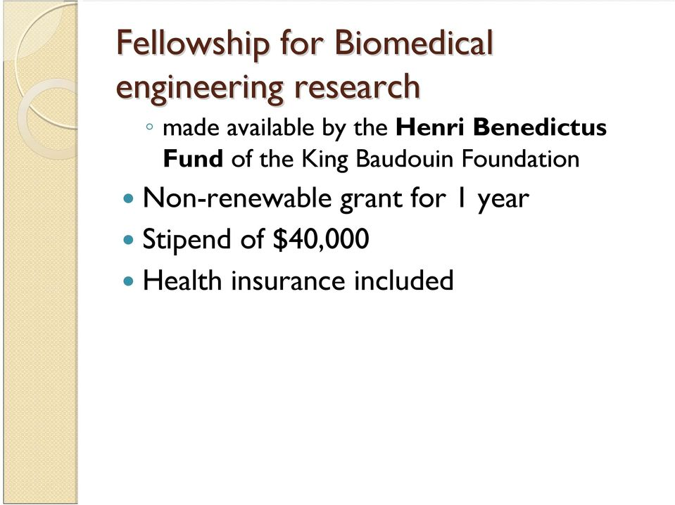 Benedictus Fund of the King Baudouin Foundation