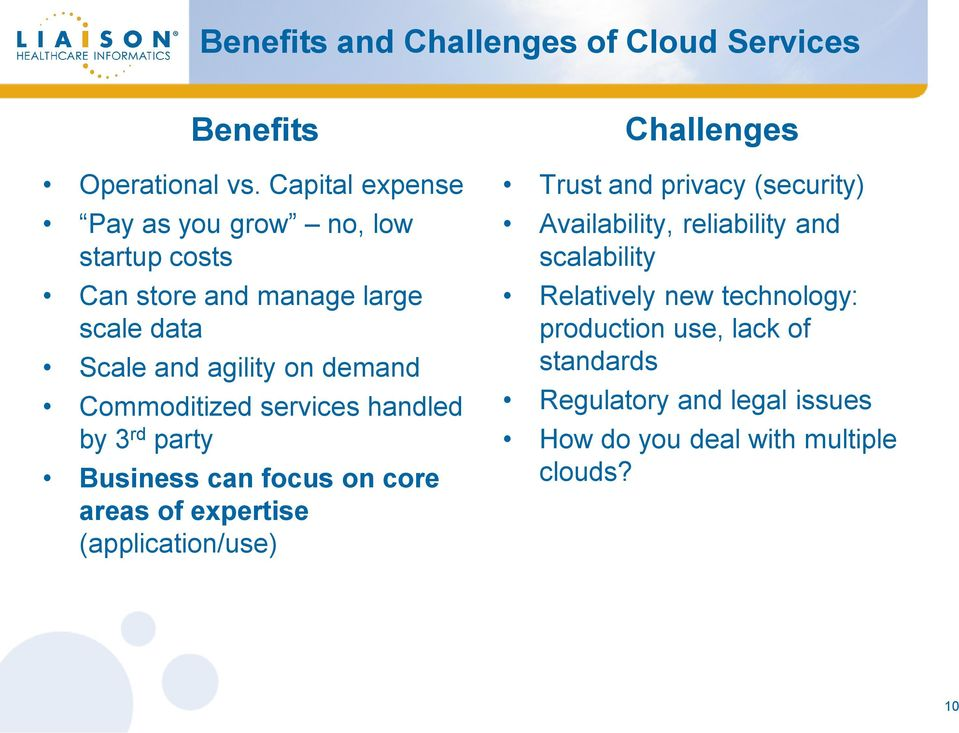Commoditized services handled by 3 rd party Business can focus on core areas of expertise (application/use) Challenges Trust