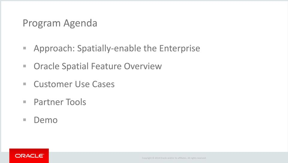 Oracle Spatial Feature Overview