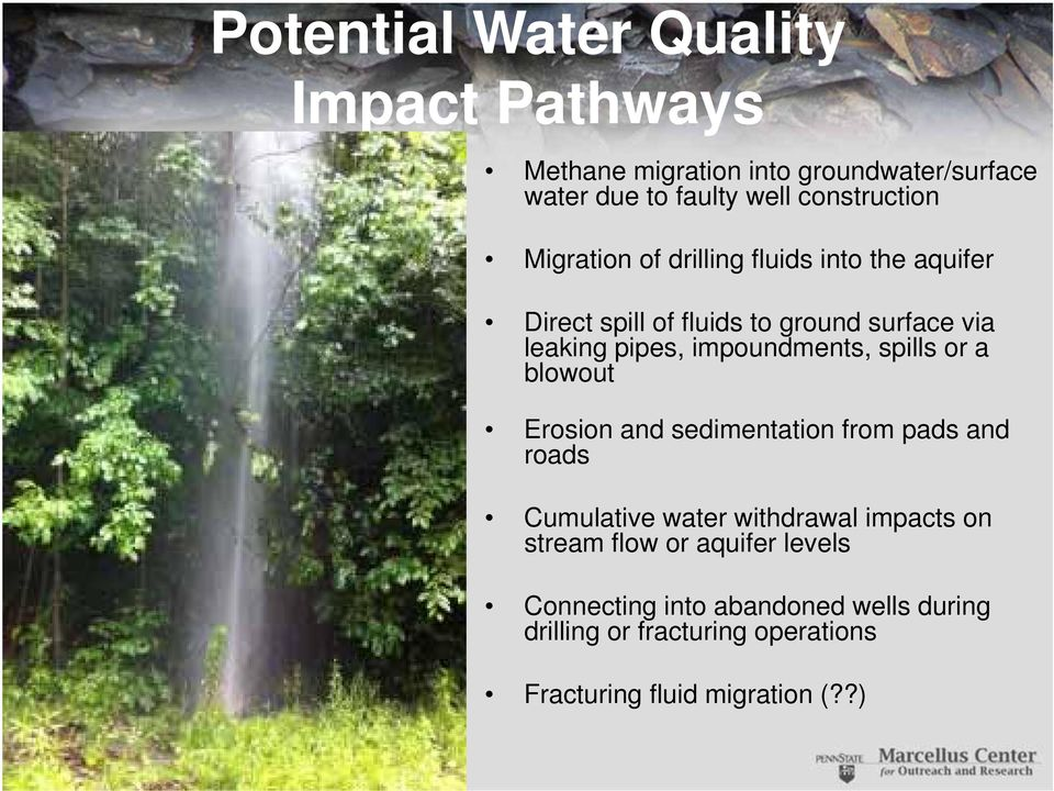 impoundments, spills or a blowout Erosion and sedimentation from pads and roads Cumulative water withdrawal impacts on