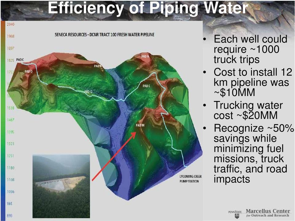 ~$10MM Trucking water cost ~$20MM Recognize ~50%