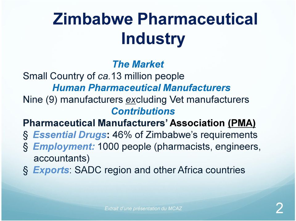 Contributions Pharmaceutical Manufacturers Association (PMA) Essential Drugs: 46% of Zimbabwe s