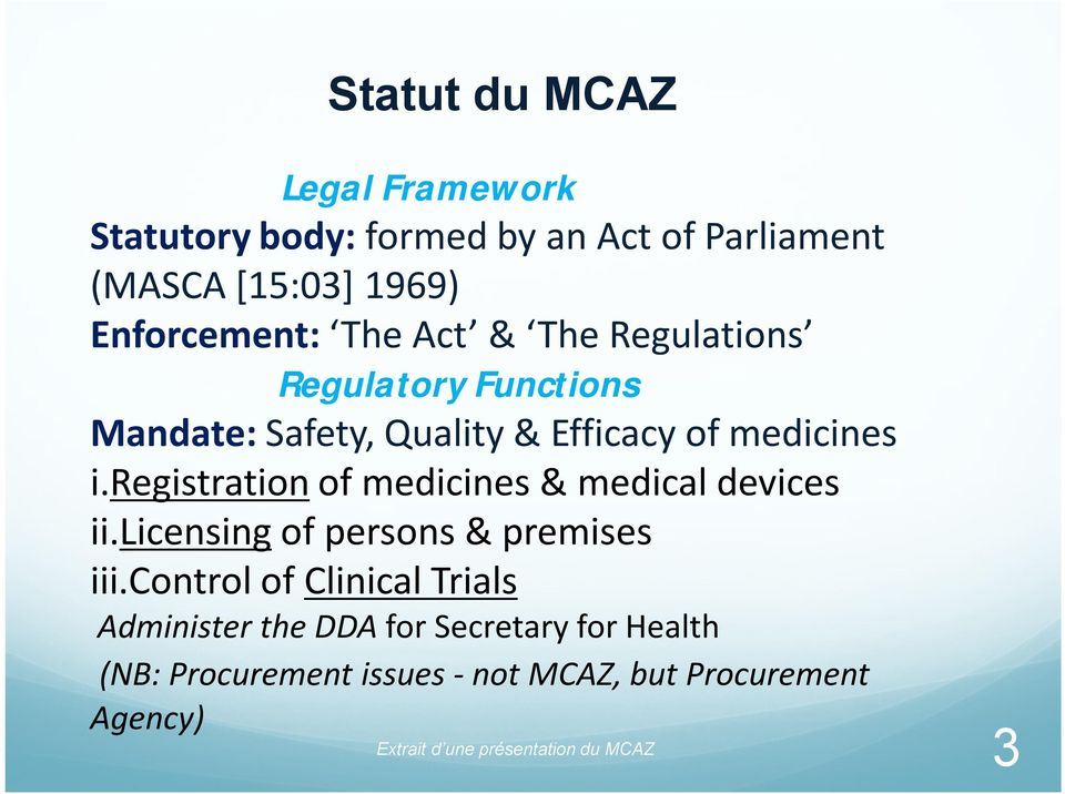 registration of medicines & medical devices ii.licensing of persons & premises iii.