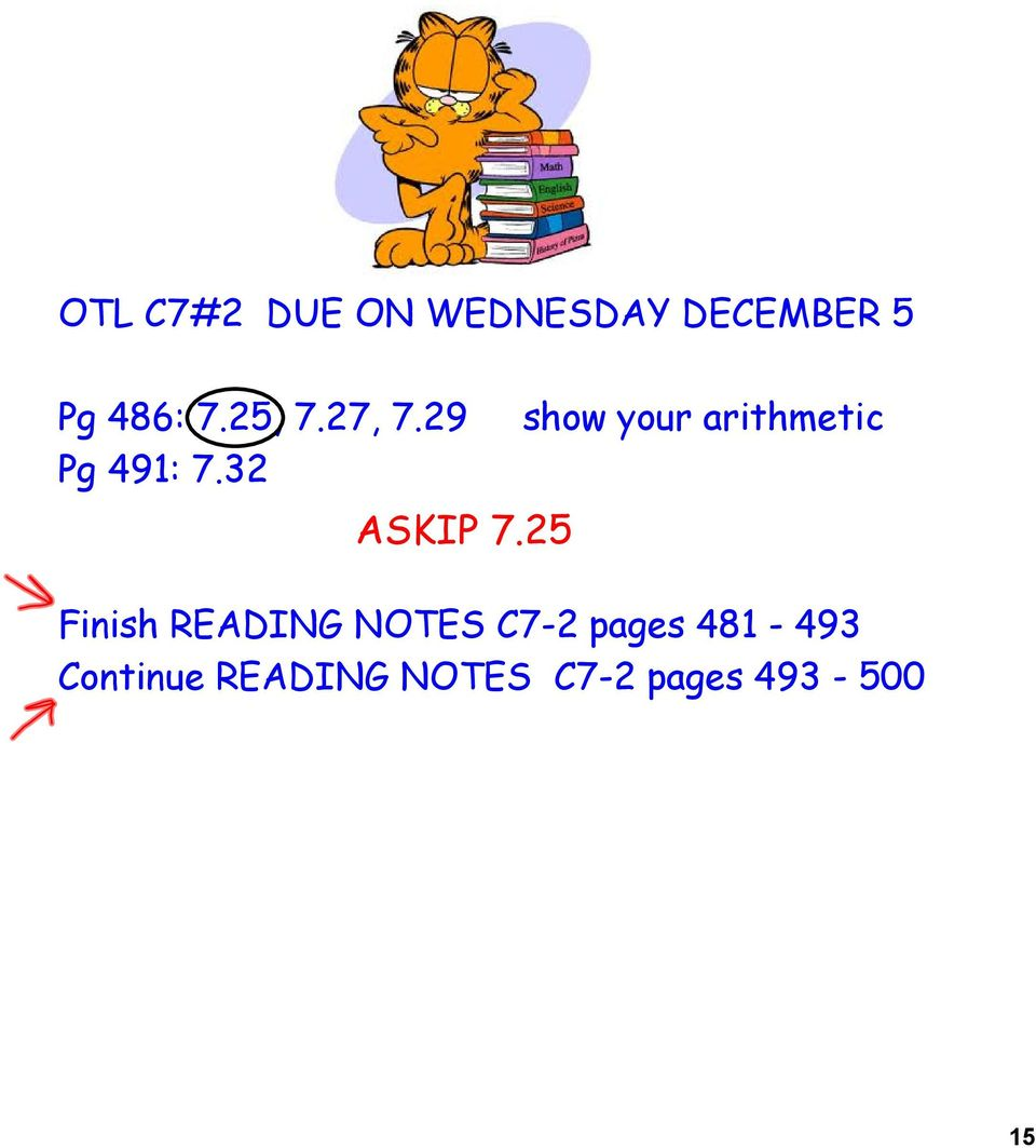 25 show your arithmetic Finish READING NOTES