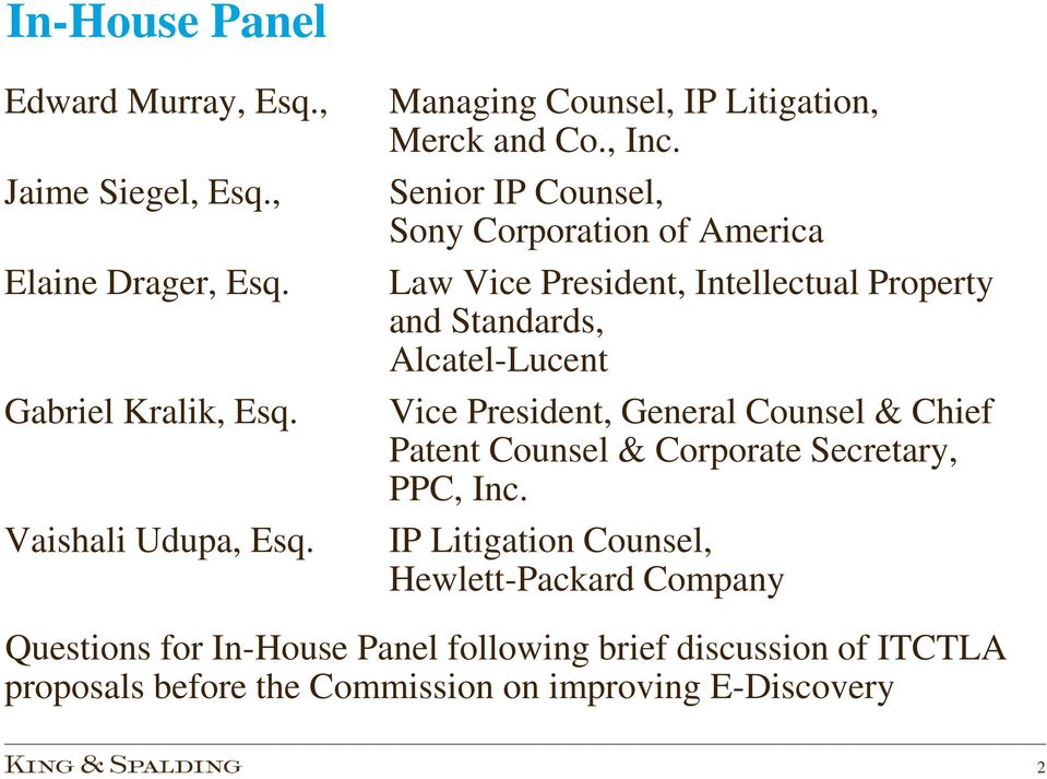 Senior IP Counsel, Sony Corporation of America Law Vice President, Intellectual Property and Standards, Alcatel-Lucent Vice President,