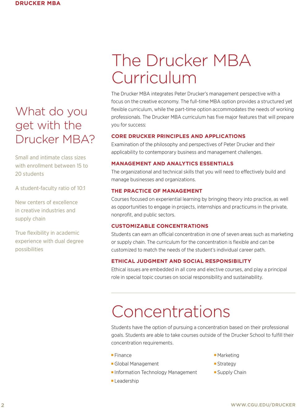 experience with dual degree possibilities The Drucker MBA integrates Peter Drucker s management perspective with a focus on the creative economy.